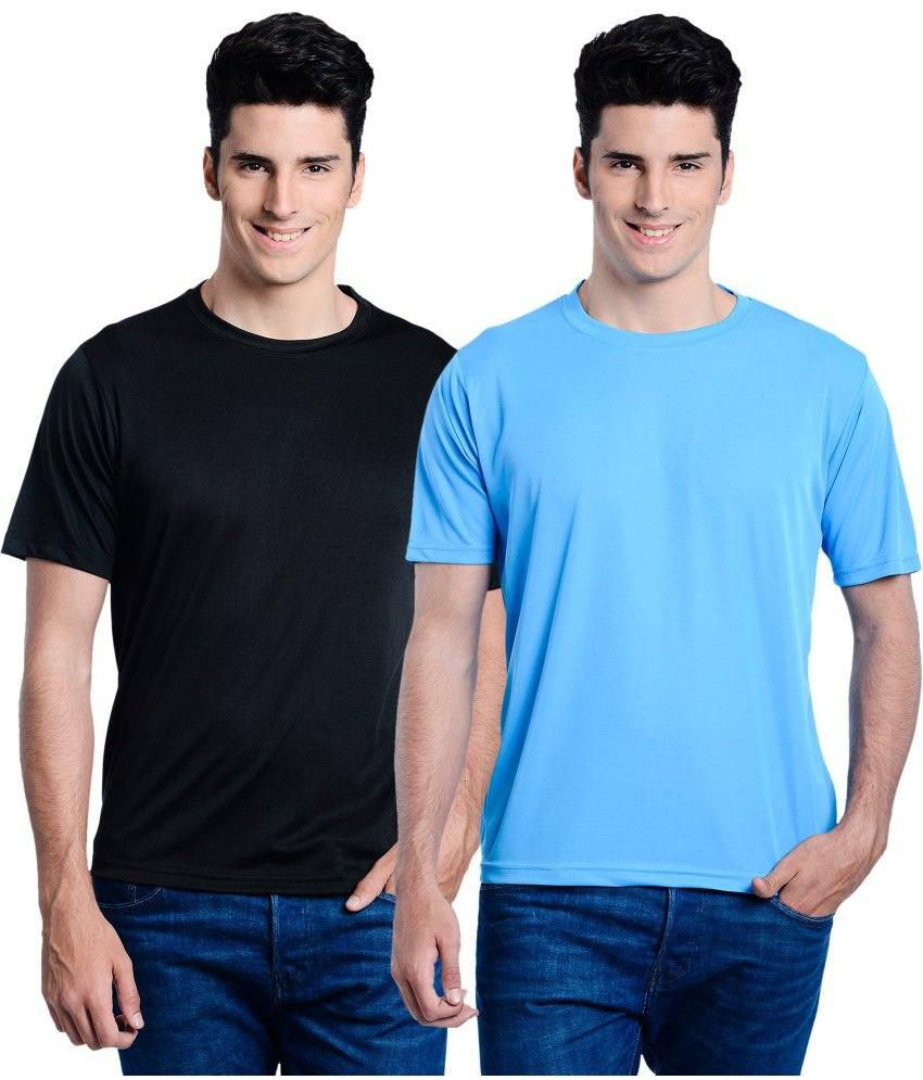 Lime Black Round T Shirts With Blue T-Shirt
