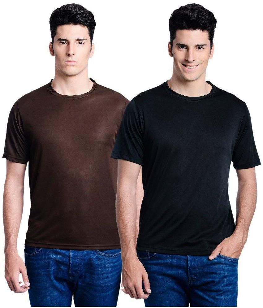 Lime Brown Round T Shirts With Black T-Shirt