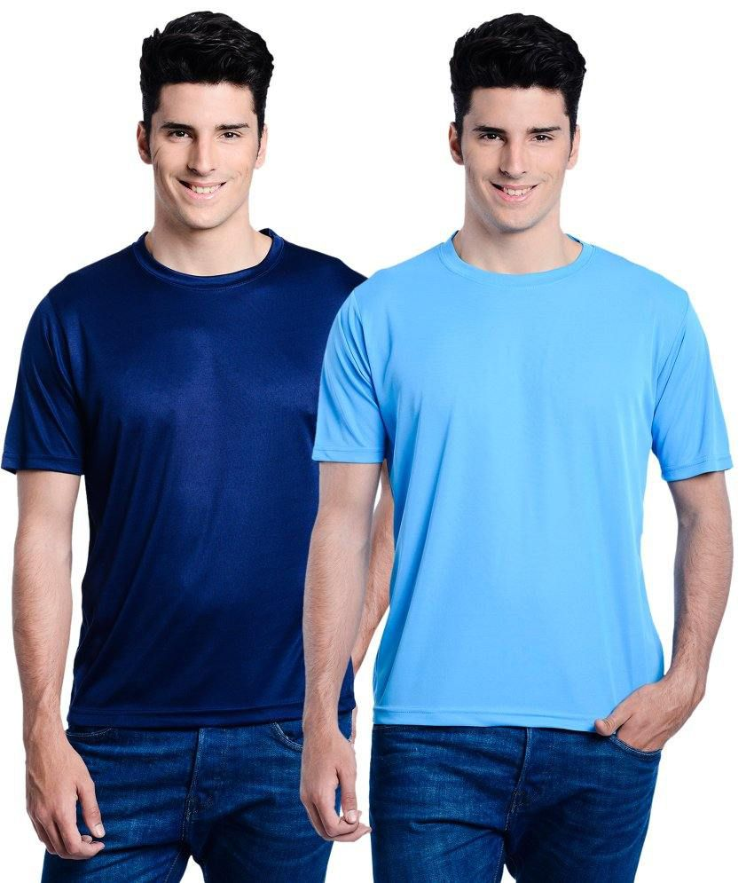 Lime Navy Round T Shirts With Turquoise T-Shirt