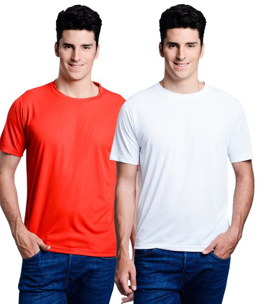 Lime Red Round T Shirts With White T-Shirt
