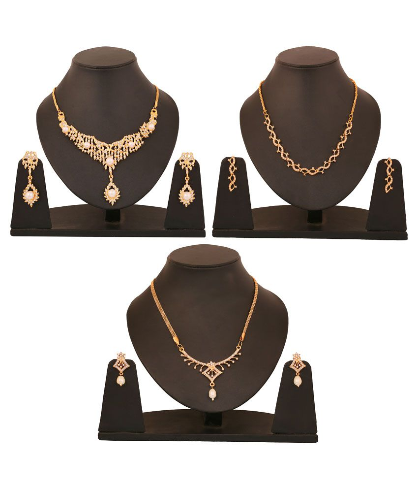 Touchstone Golden Alloy Necklace Set Combo Of 3 Piece