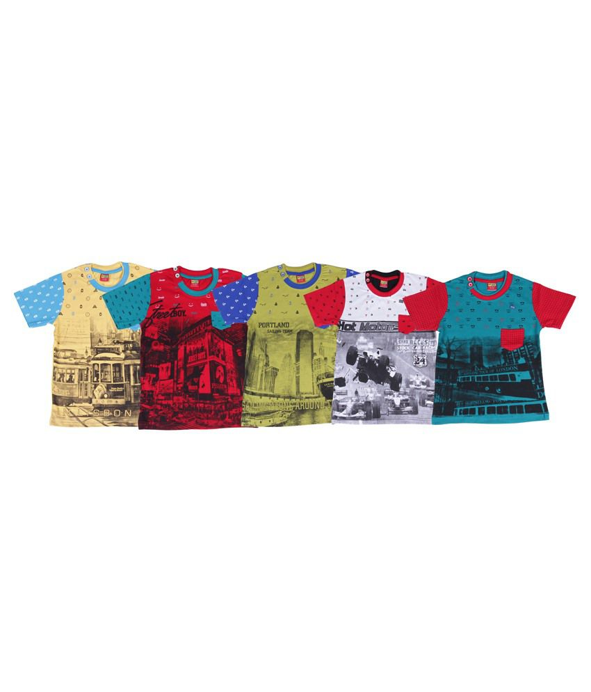 27e0db554ffb Ultra Palio Multi Half Sleeves T Shirts Pack Of 5 - Buy Ultra Palio Multi Half  Sleeves T Shirts Pack Of 5 Online at Low Price - Snapdeal