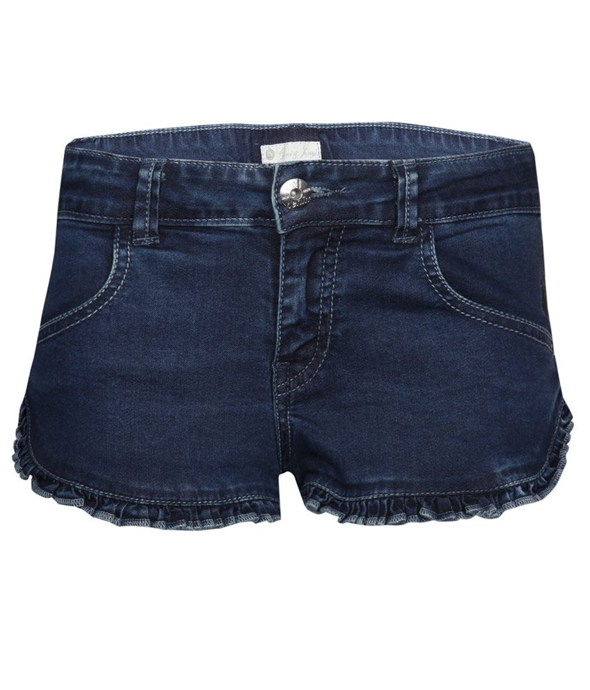 Gini & Jony Blue Cotton Blend Shorts