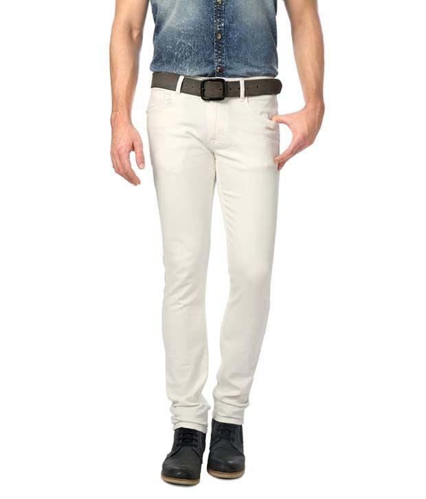 American Bull White Slim Fit Jeans