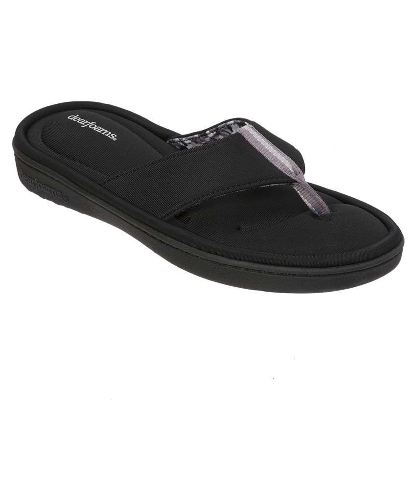 Dearfoams Black Slippers & Flip Flops