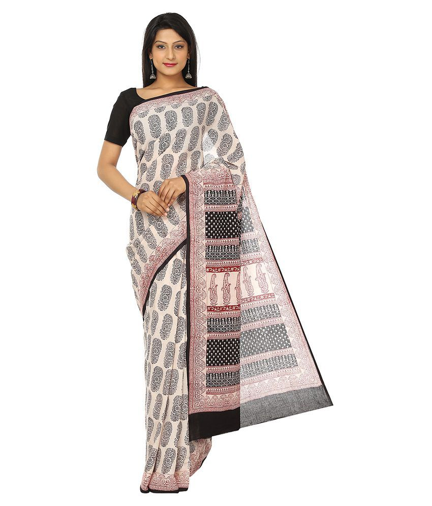 Kalakari India-Finest Quality Cotton-Handmade White Base Saree With Red Black Booti,Bold Prints-Bagh Block Print-With Blouse Piece