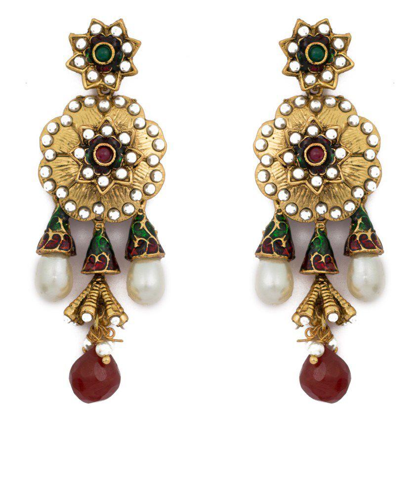 Kanish Golden Alloy Earrings