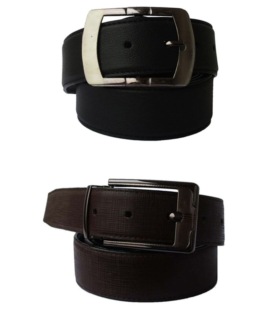Lenin Black & Brown Leather Belts For Men Set Of 2
