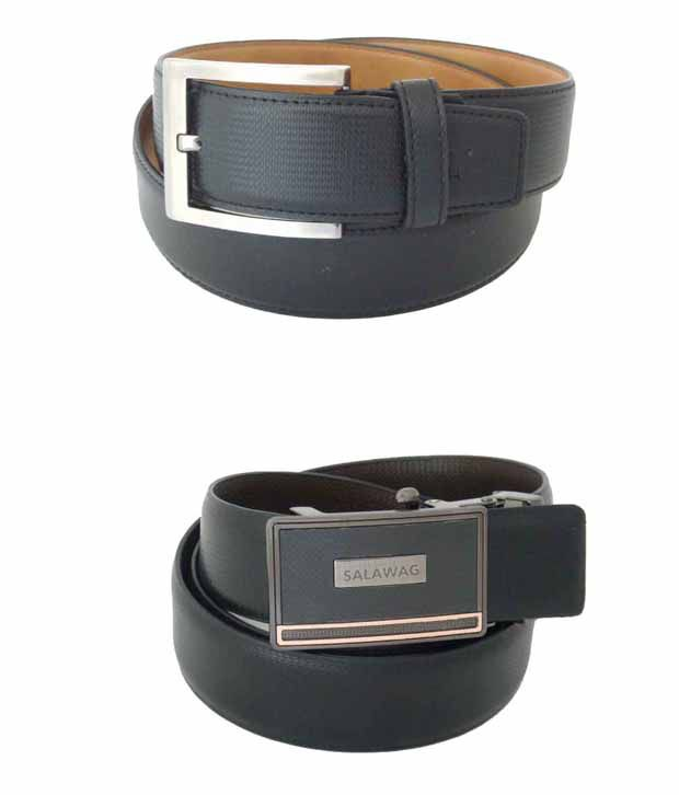 SFA Black Non Leather Formal And Casual Belts - Combo Of 2