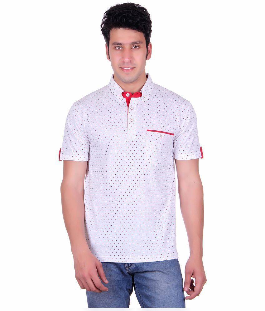 Vivid Bharti White Henley T Shirts