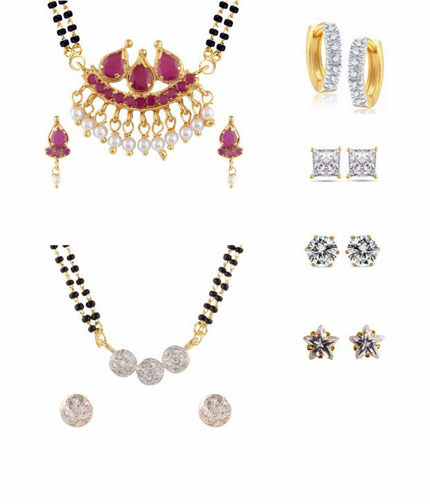 Parijaat Combo of 2 Gold Plated Mangalsutra Set, 1 Bali & 3 Stud Earrings