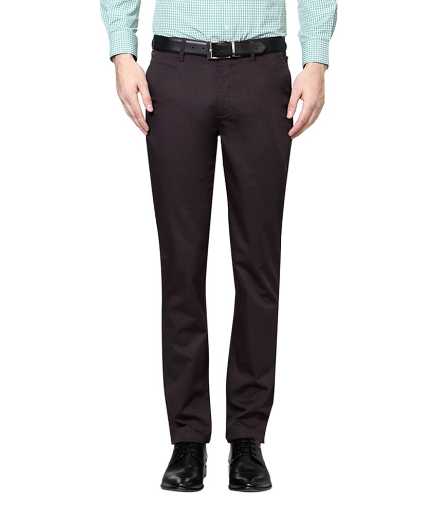 Peter England Brown Slim Fit Flat Trousers