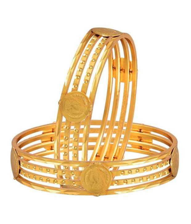 Zeneme Temple Coin Gold Plated Bangles