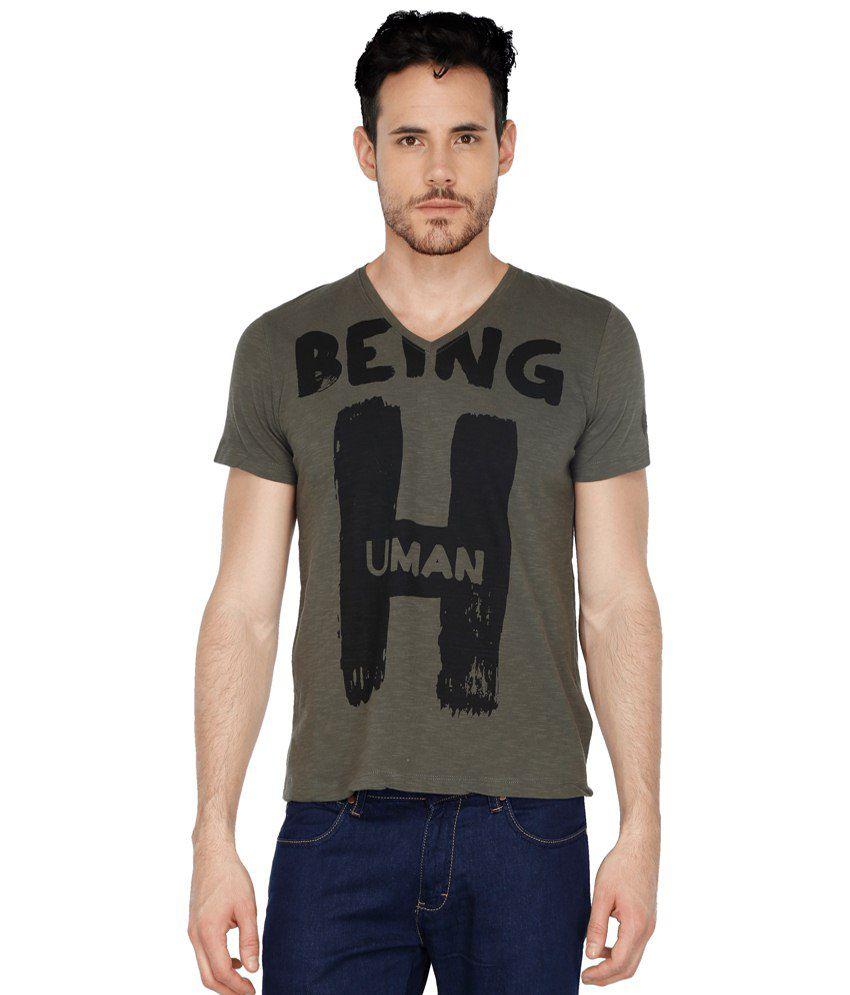 Being Human Grey V-Neck T Shirts