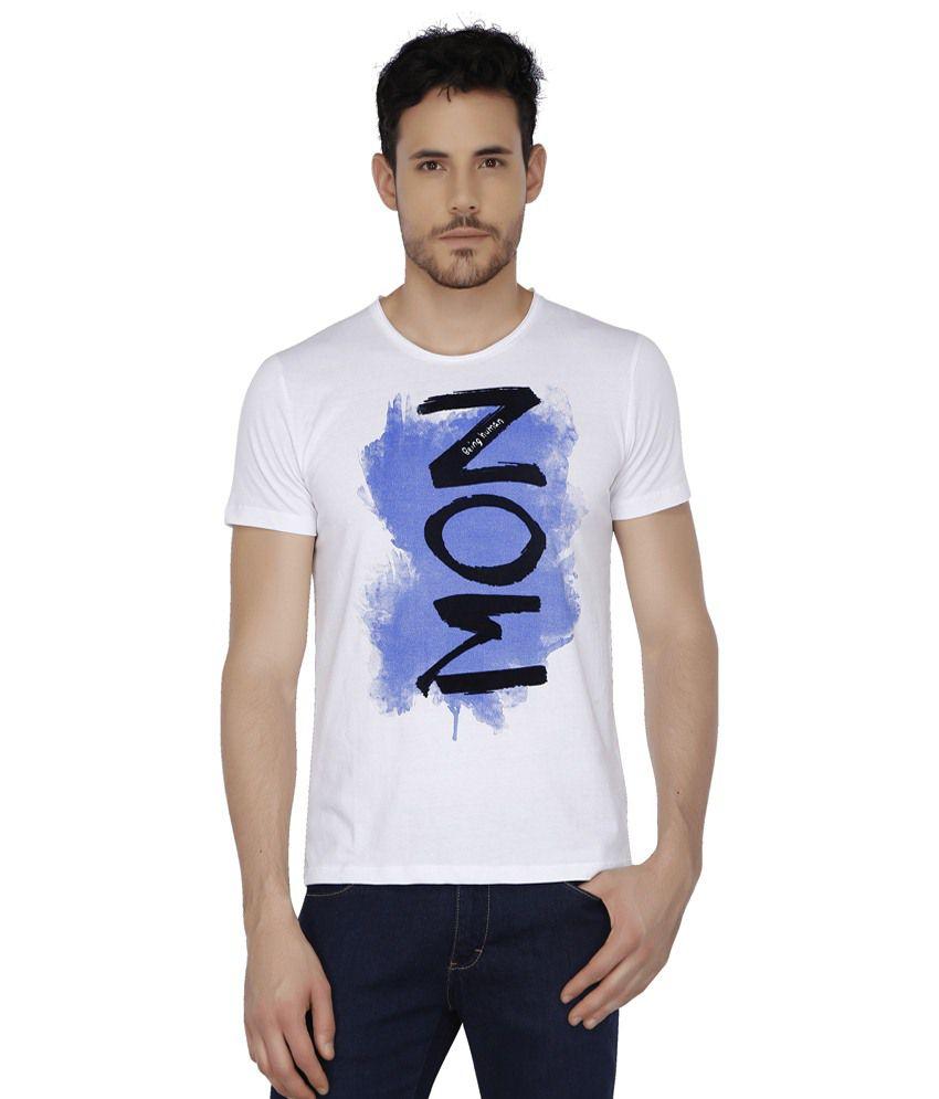 Being Human White Round T Shirts