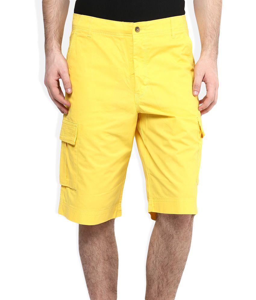 Parx Yellow Solid Shorts