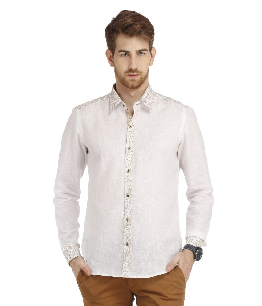 Spawn White Casuals Slim Fit Shirts