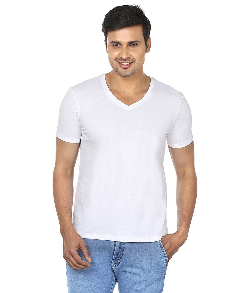 Fashionmania by Glanz White V-Neck T Shirts