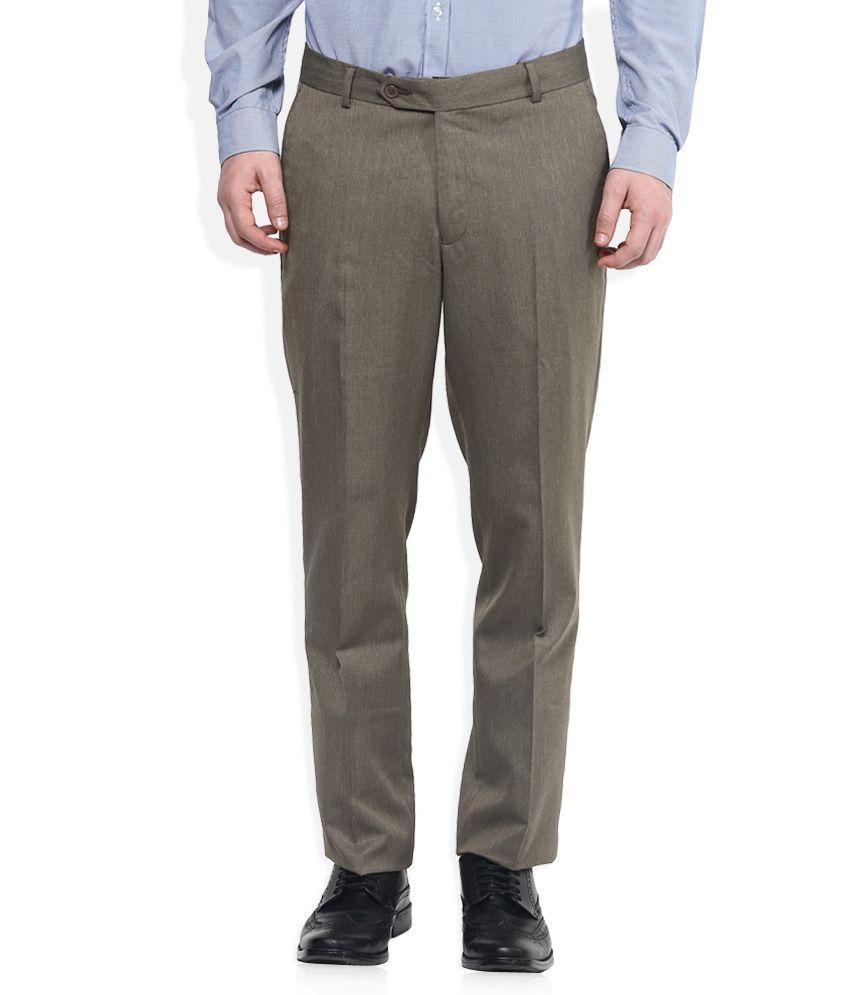 John Players Brown Regular Fit Trousers