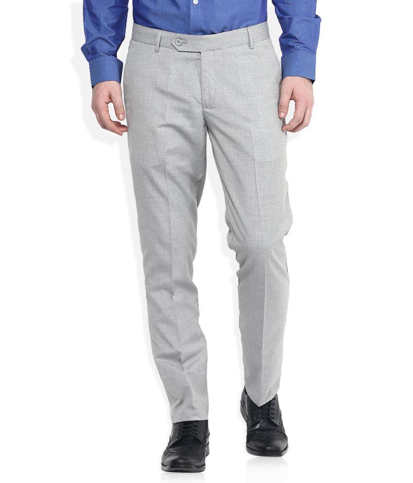 John Players Grey Slim Fit Trousers