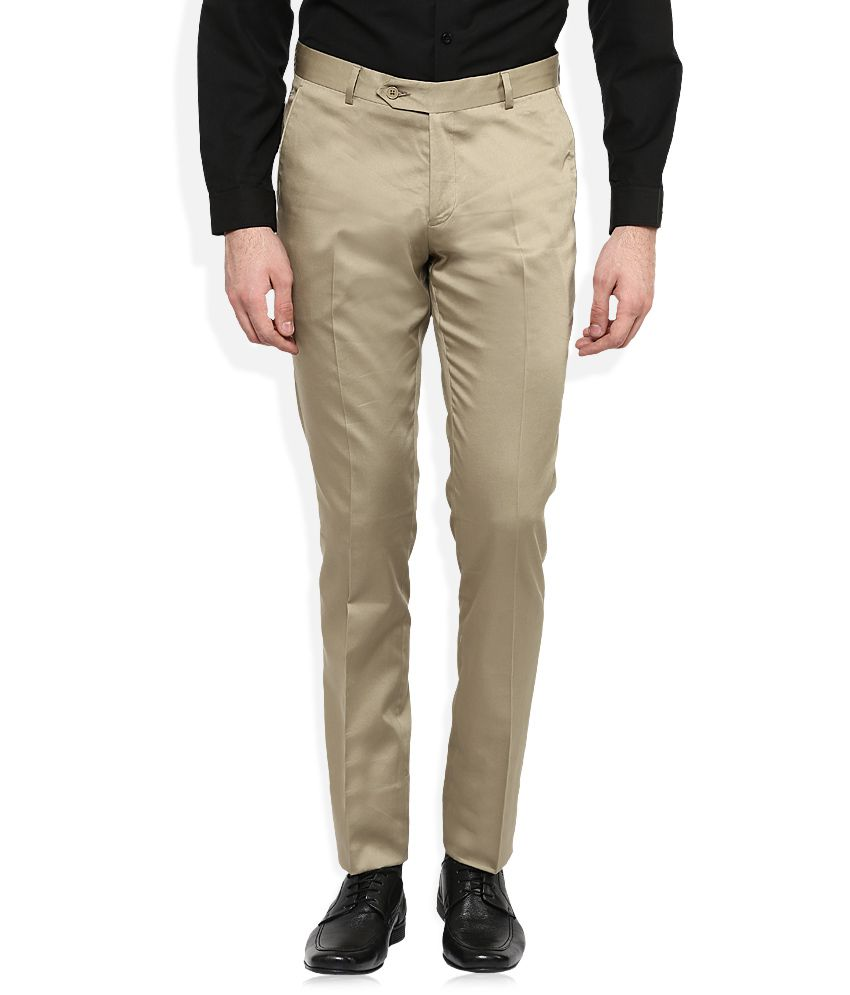 John Players Khaki Slim Fit Trousers
