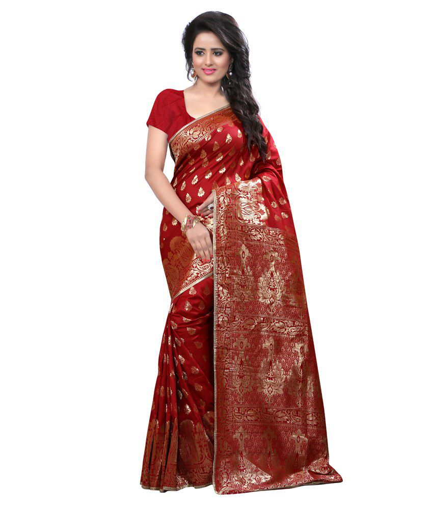 Kembrone Red Silk Saree