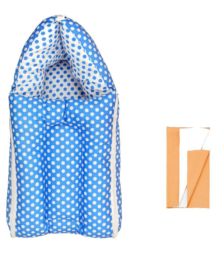 Orange And Orchid Blue and White Cotton Sleeping Bag with Dry Sheet - 2 Pieces