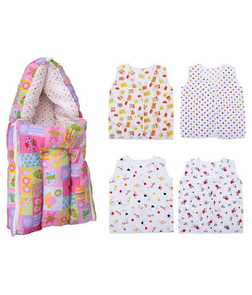 Orange And Orchid Multicolour Cotton Sleeping Bag with Jabla - 5 Pieces