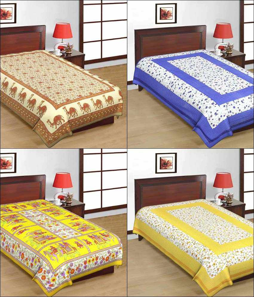 UniqChoice Multicolour Rajasthani Traditional 100 % Cotton Single Bed Sheet - Pack of 4