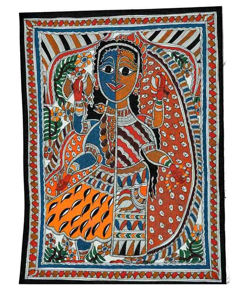 Craftuno Multicolour Ardhnareshwar Painting