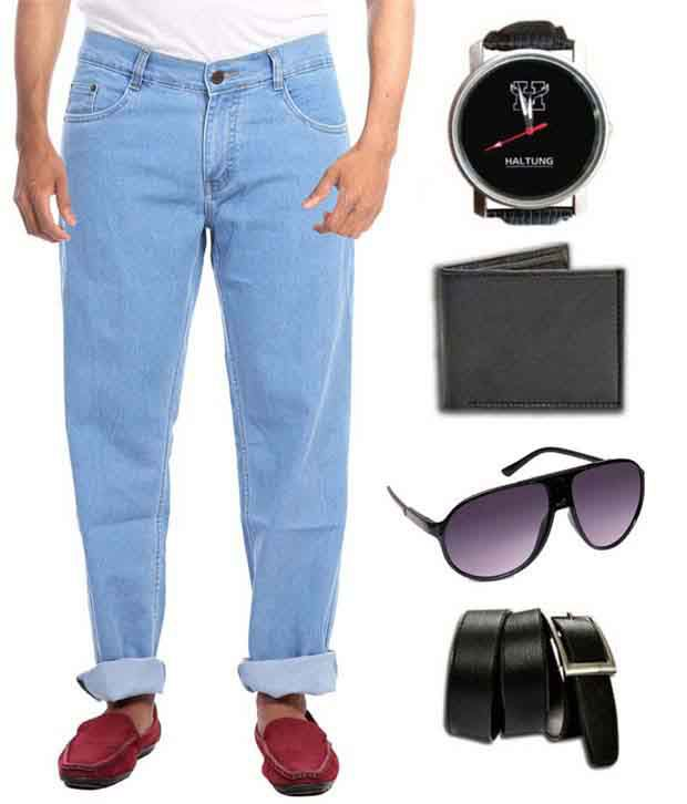Hultung Mens Denim Regular Fit Jeans With Free Wallet-watch-sunglass-belt
