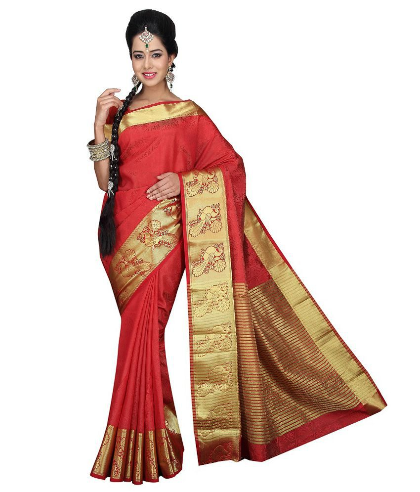 Mahila Silks Red Art Silk Saree