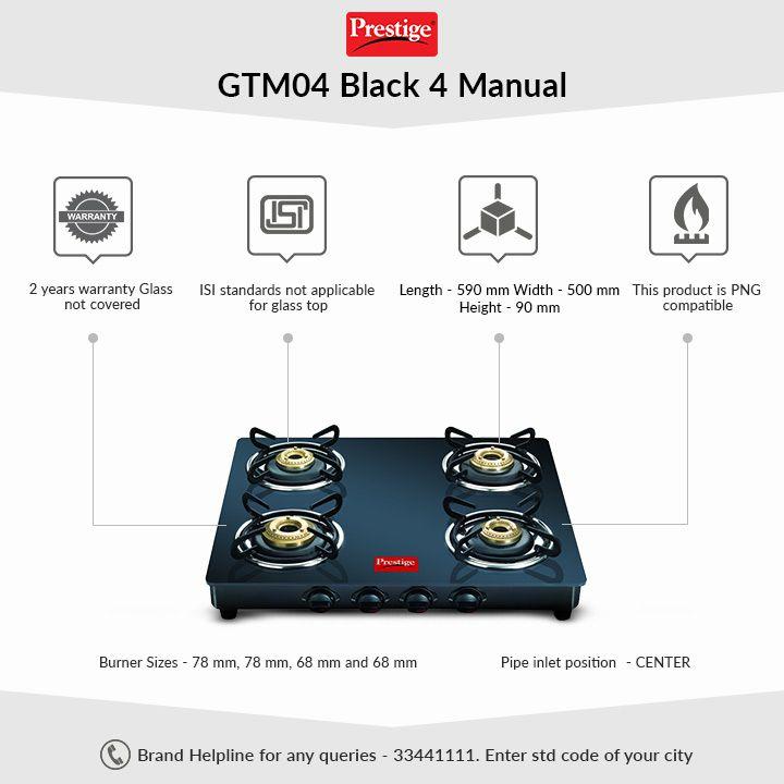 d774c2c5aac Prestige Marvel Black 4 Burner Glass Manual Gas Stove Price in India ...