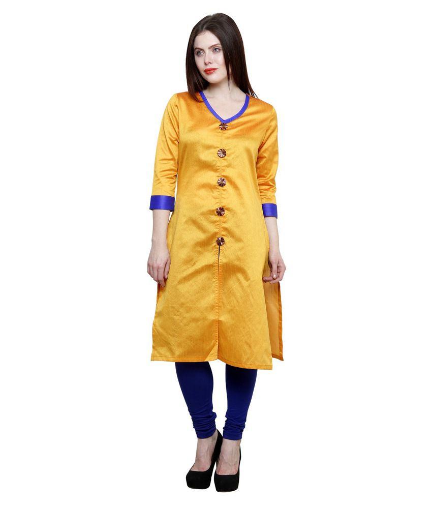 Ziera Yellow Straight Chanderi Kurti