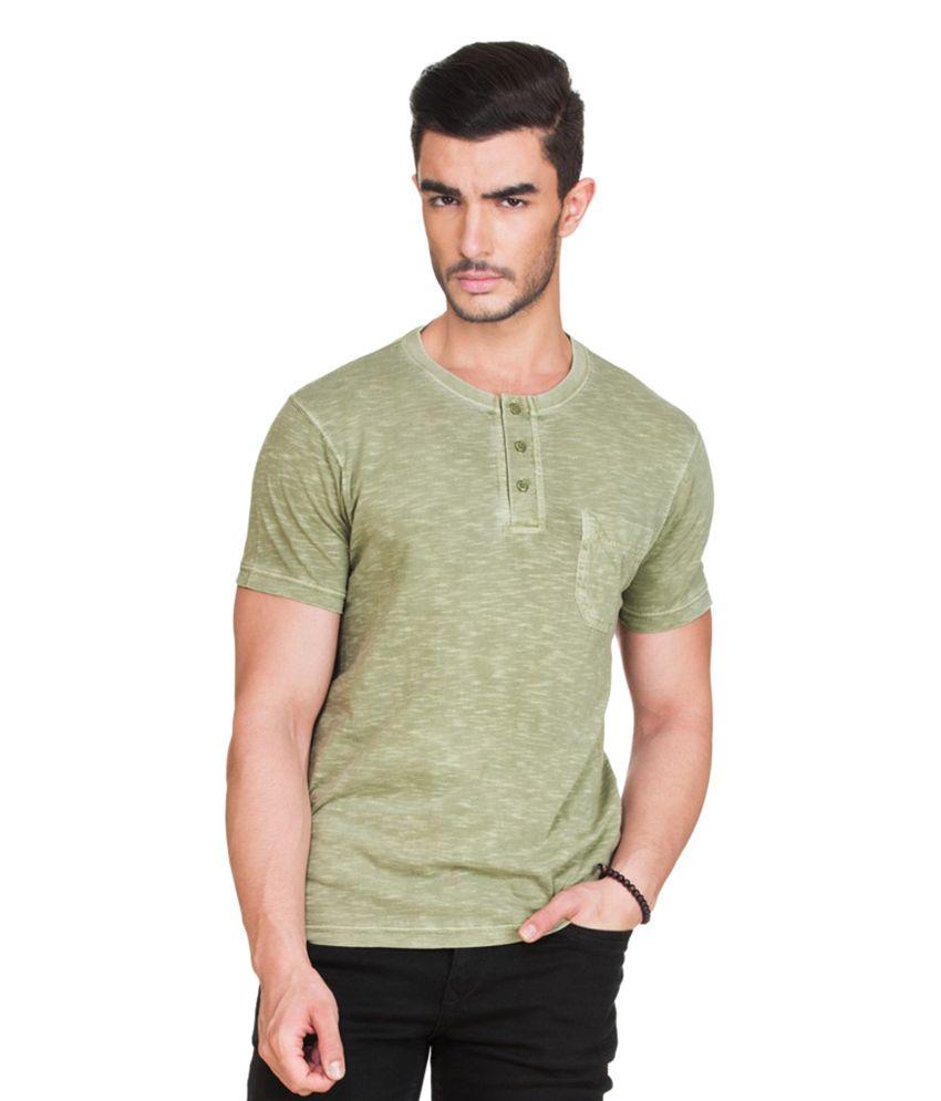 Zovi Green Henley T Shirts