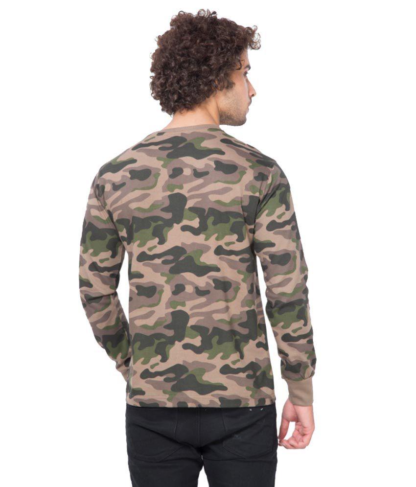 Clifton Fitness Men's Army R-Neck Full Sleeve T-shirt -Walnut ...