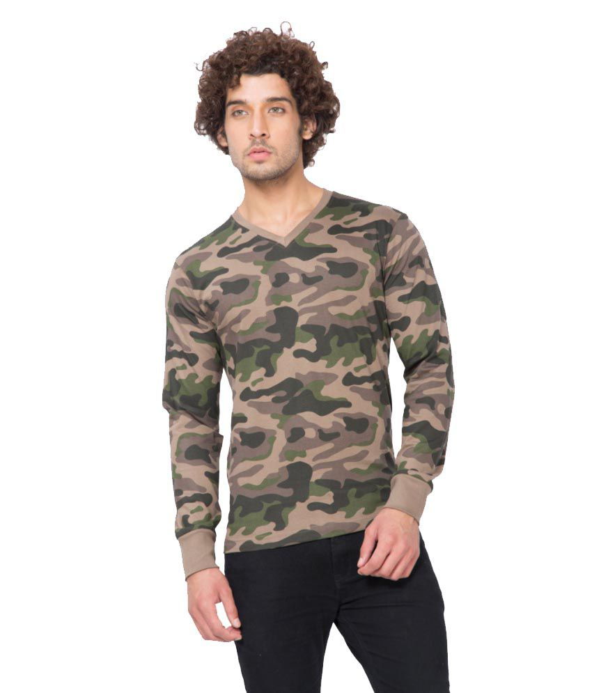 Clifton Fitness Men's Army V-Neck Full Sleeve T-shirt -Walnut