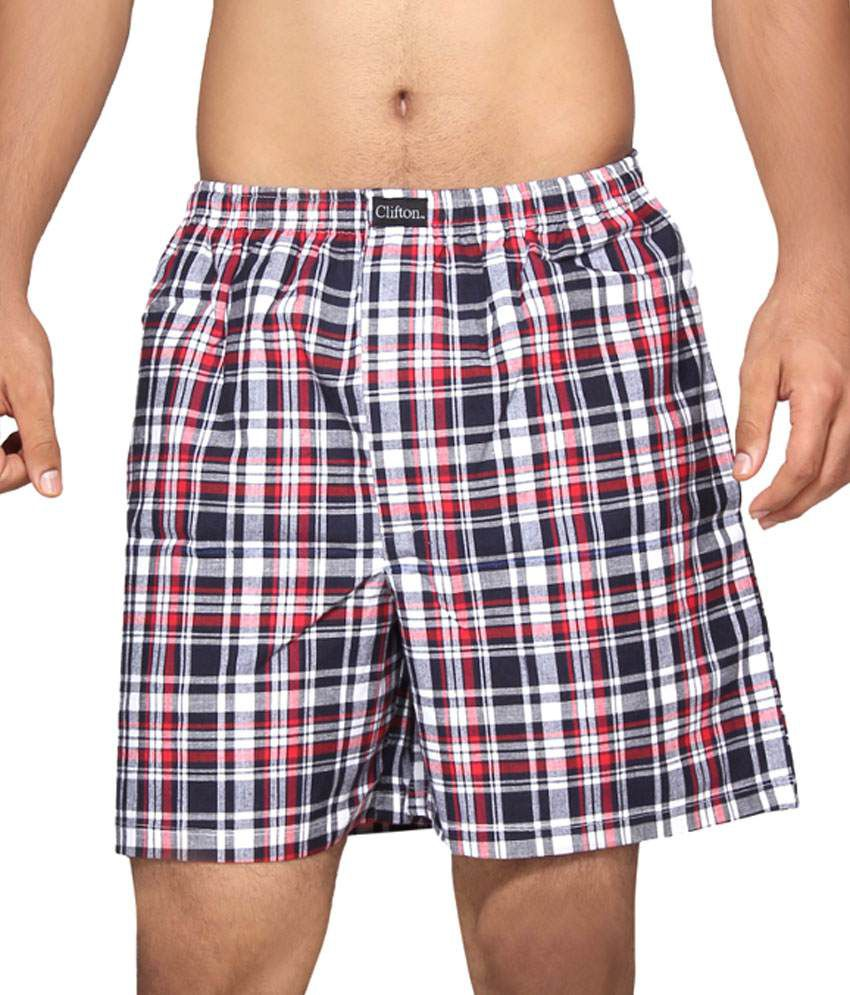 Clifton Fitness Men's Boxer -Navy Red Checks
