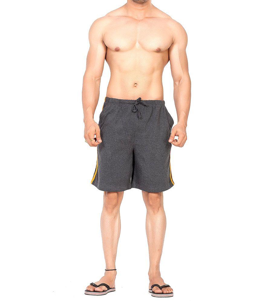 Clifton Fitness Men's Shorts Stripes -Charcoal/Bright orange