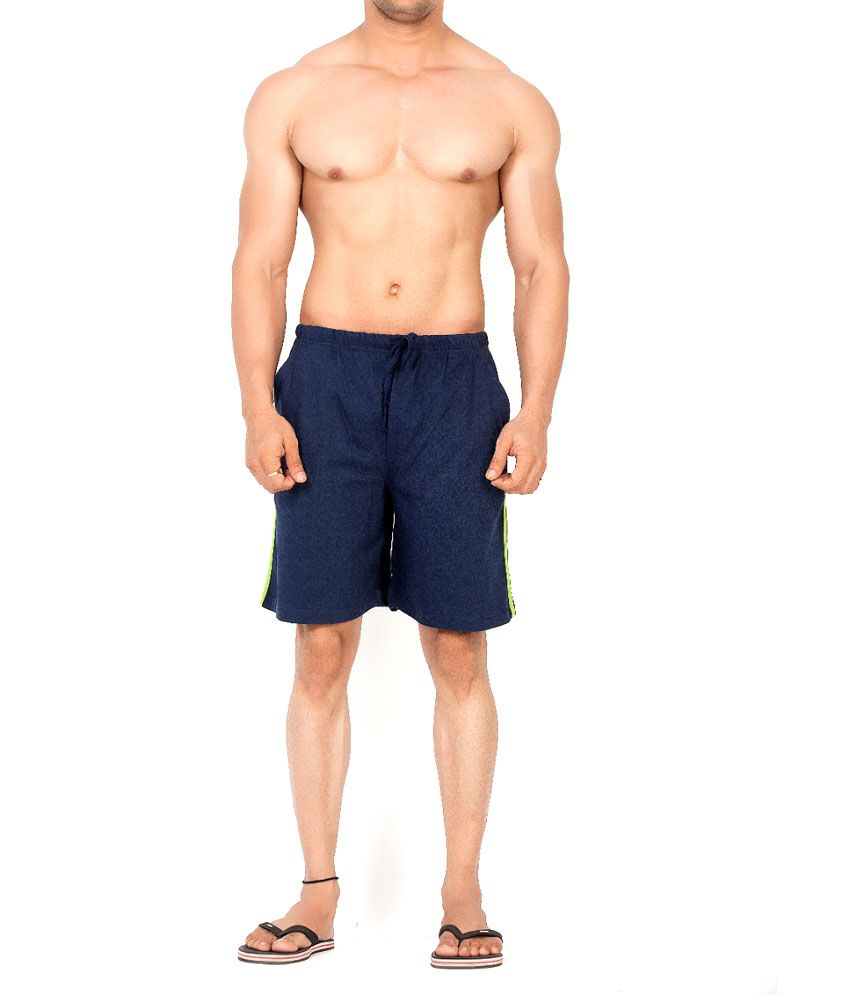 Clifton Fitness Men's Shorts Stripes -Navy/Parrot Green