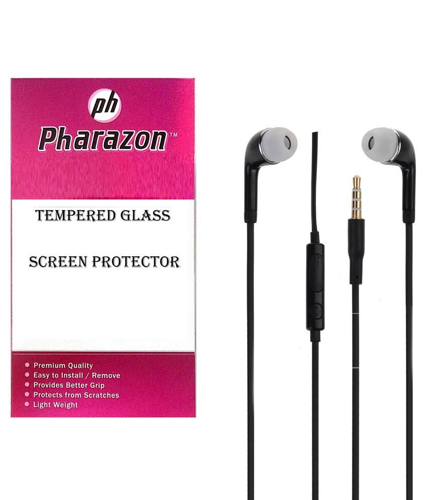 Pharazon Samsung Galaxy J7 Tempered Glass Screen Protector And 3.5mm Dynamic Earphones With Mic Black