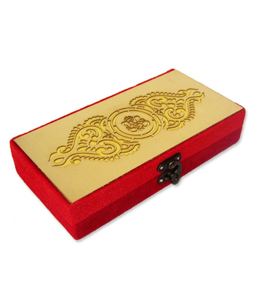 WeddingPitara Red Wooden Wedding Cash Box