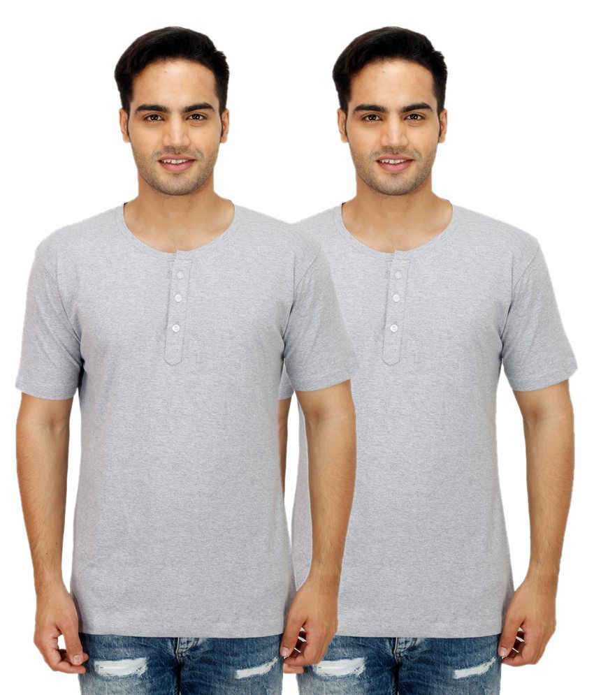 Candy House Grey Henley T Shirts Pack Of 2