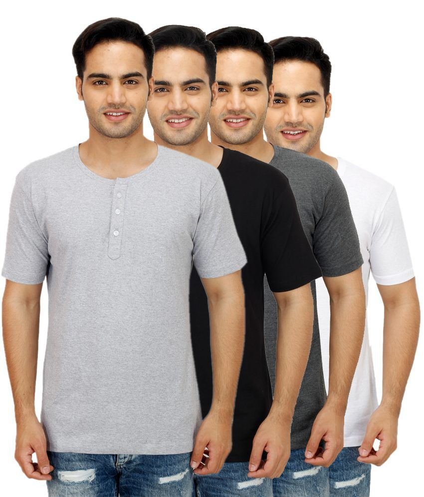 Candy House Multi Henley T Shirts Pack of 4