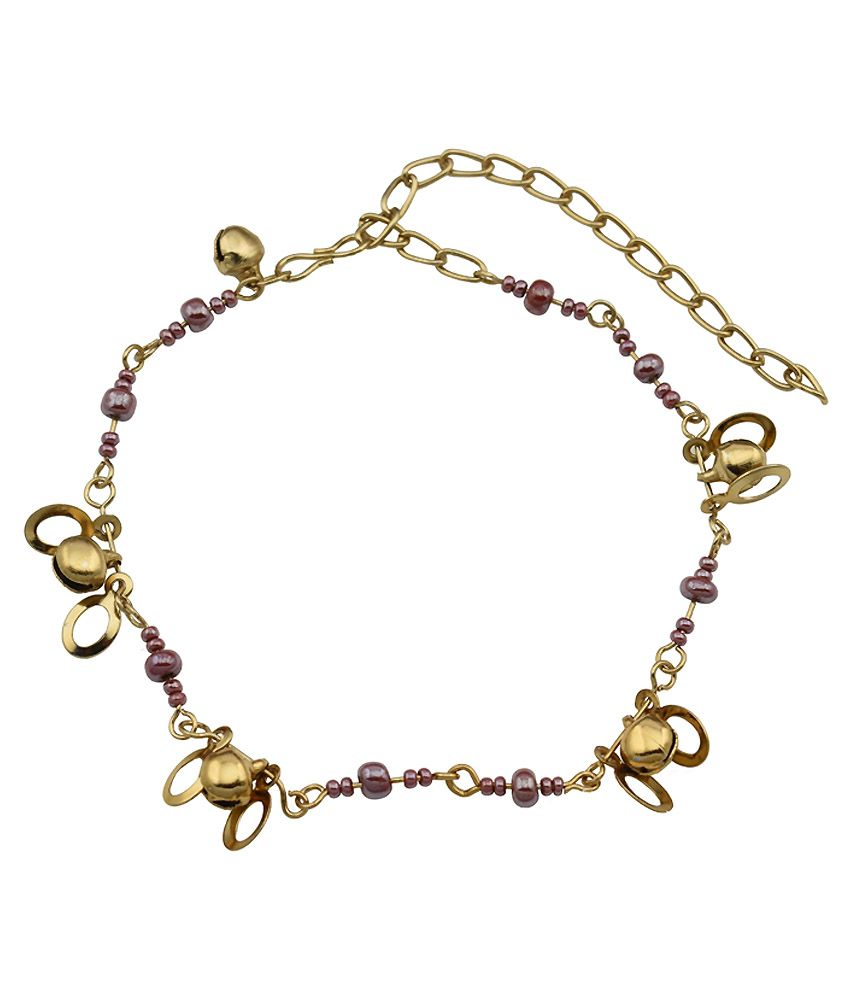 High Trendz Pink Beads With Golden Circles Designer Copper Anklet For Women