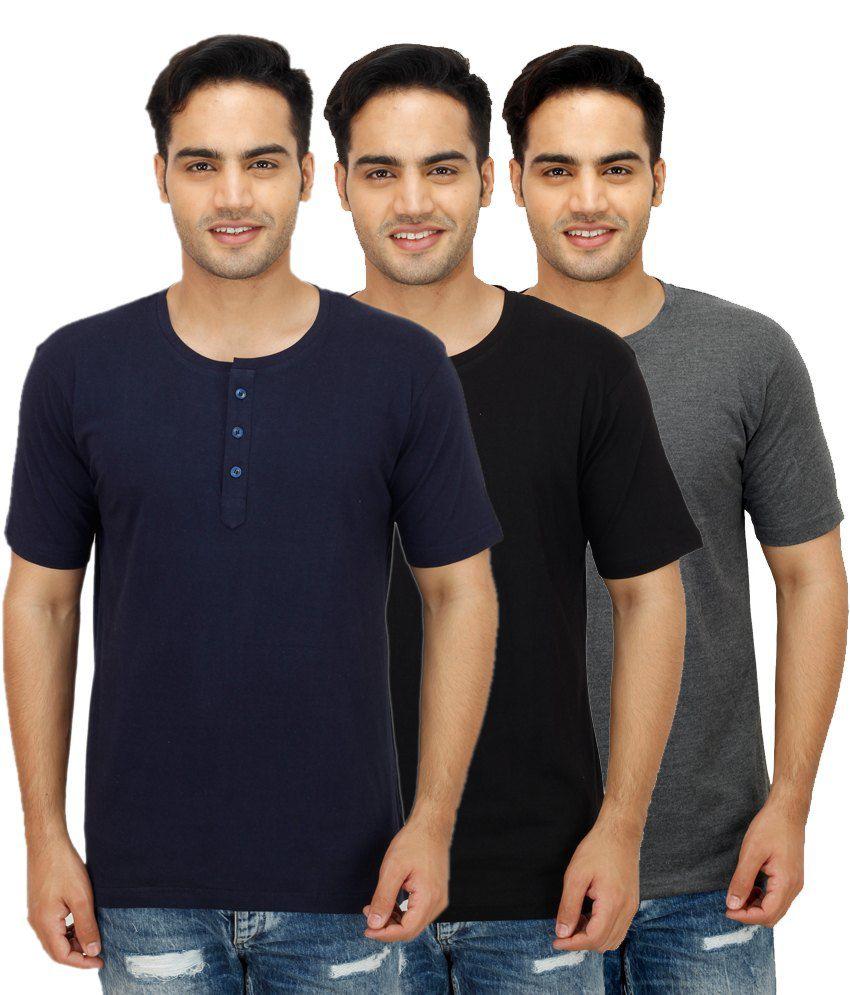 Rakshita's Collection Multi Henley T Shirts Pack of 3