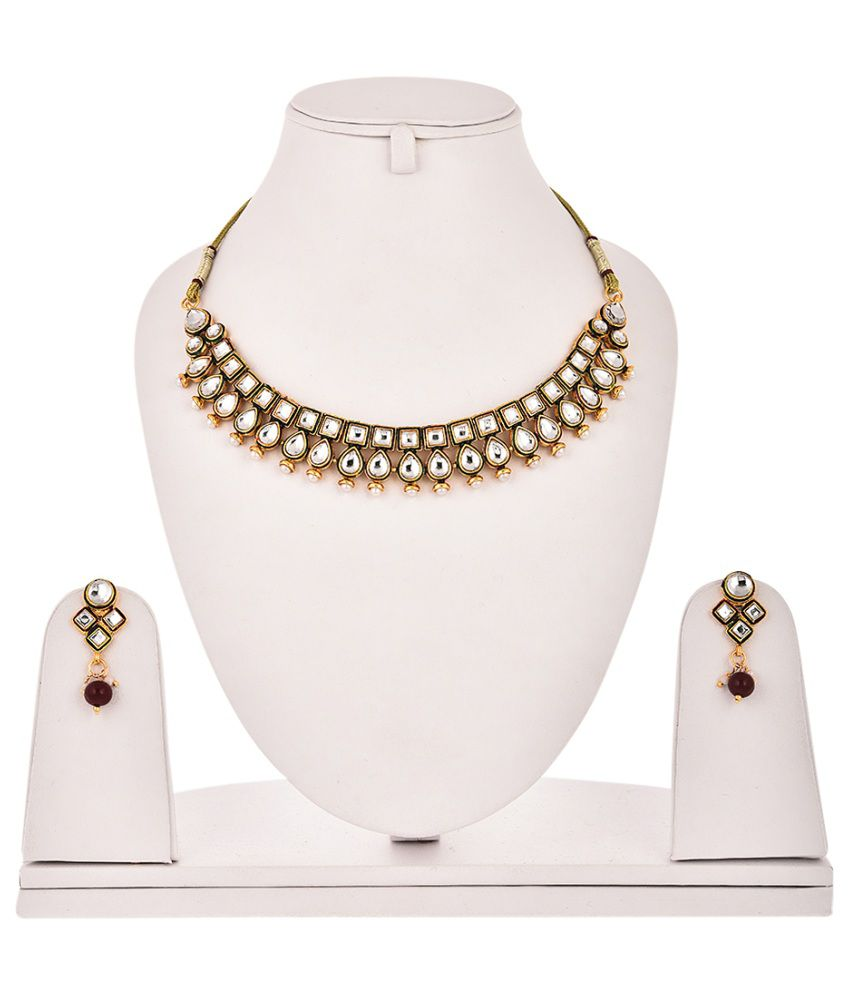 Zeneme Kundan Polki Antique Necklace Set With Earring