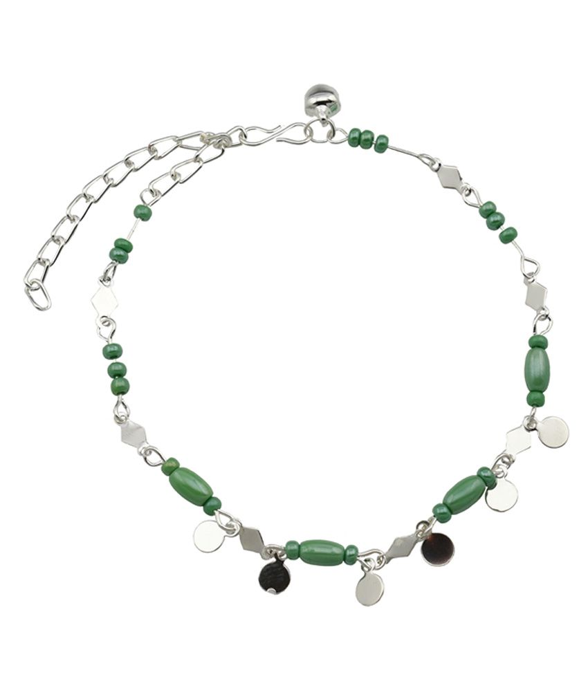 High Trendz Green Beads With Silver Circles Designer Copper Anklet For Women