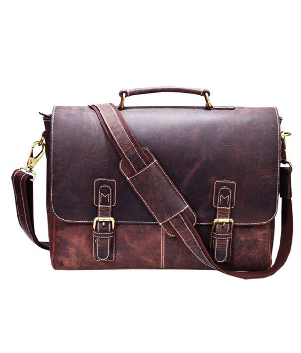 Zakara Brown Leather Laptop Messenger Bag