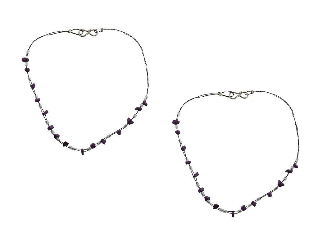 High Trendz Purple Beadz Designer Copper Anklet For Women
